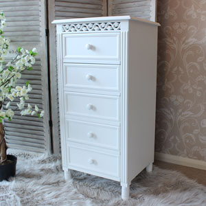 Blanche Range - White 5 Drawer Tallboy Chest