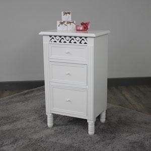 Blanche Range - White 3 Drawer Bedside Cabinet
