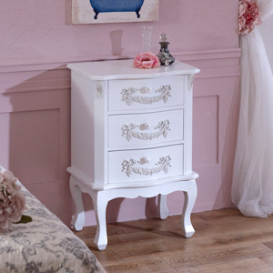 Pays Blanc Range - Antique White 3 Drawer Bedside Table
