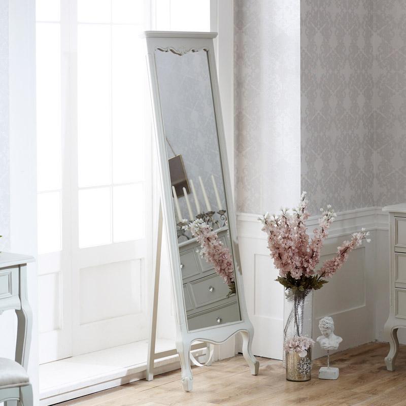 Tall Free Standing Cheval Mirror - Elise Grey Range 50cm x 168cm
