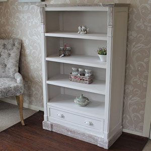 Lyon Range - Cream Low Bookcase with Drawers