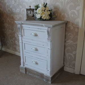 Lyon Range - Cream 3 Drawer Bedside Table