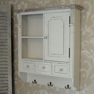 Lyon Range -  Cream Wall Mounted Cupboard with Hooks
