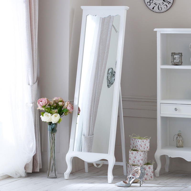 Tall Free Standing Cheval Mirror - Elise White Range 50cm x 168cm