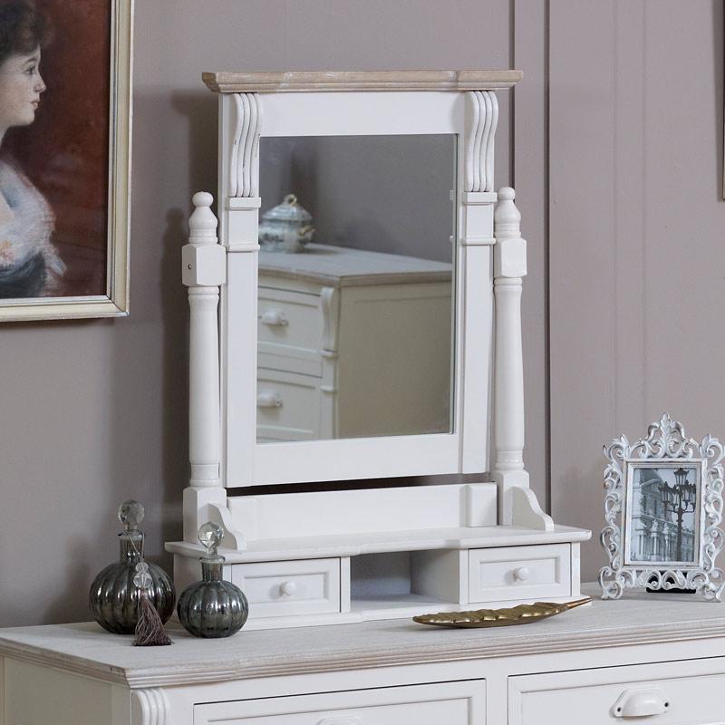 Cream Swing Mirror with Drawer Storage - Lyon Range 15cm x 68cm