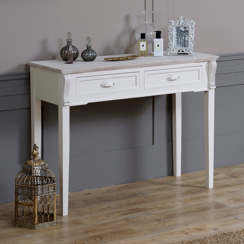 Lyon Range - Cream 2 Drawer Console/Dressing Table