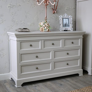 Large Grey 7 Drawer Chest of Drawers - Daventry Taupe-Grey Range