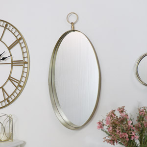 Large Gold Oval Wall Mirror
