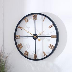 Large Black & Gold Modern Skeleton Clock