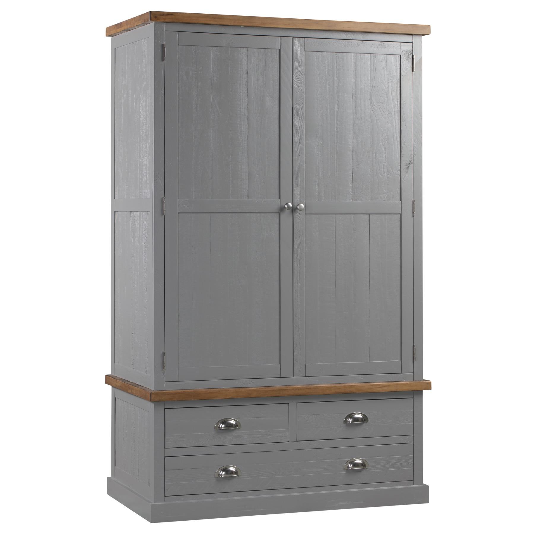 Large Grey Double Wardrobe - Wesminster Range
