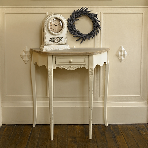 Country Ash Range -  Half Moon Console Table with drawer