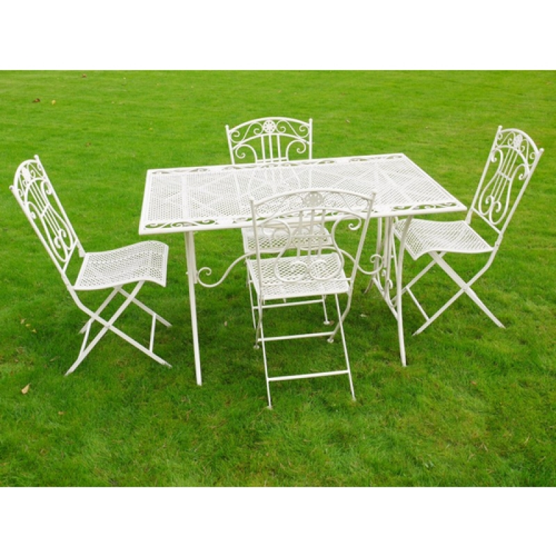 Cream Rectangle Table and 4 Chairs Bistro Set