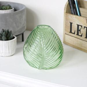 Green Leaf Glass Vase