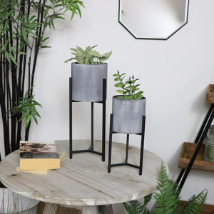 Set of Two Black Metal & Concrete Planters