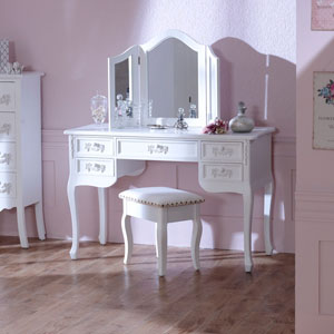 Pays Blanc Antique White Dressing Table with Triple Mirror and Stool