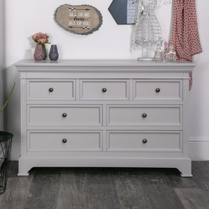 Large Grey 7 Drawer Chest of Drawers - Daventry Grey Range