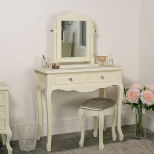 Cream Painted Dressing Table Set with Stool and Mirror - Elise Cream Range