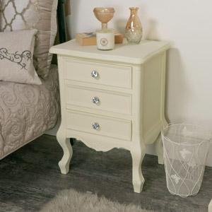 Three Drawer Bedside Table - Elise Cream Range