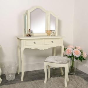 Dressing Table, Triple Mirror and Stool Set - Elise Cream Range