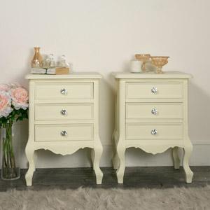 Pair of 3 Drawer Bedside Tables - Elise Cream Range