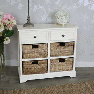 Chateau Range - Ivory Wicker Storage Unit - Two Drawer/Four Baskets