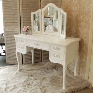 White Dressing Table Desk with Triple Mirror - Pays Blanc Range