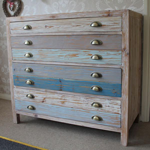 Four Drawer Wooden Blue Chest Of Drawers