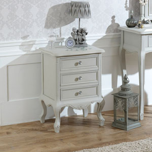 Elise Grey Range - 3 Drawer Bedside Table