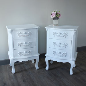 Pair of Antique White 3 Drawer Bedside Table - Pays Blanc Range