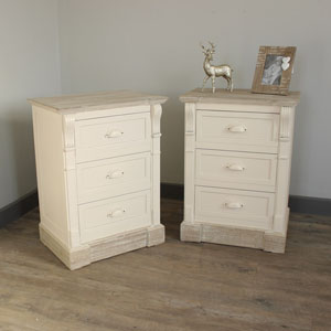 Lyon Range -Bedroom Set, Pair of Cream Three Drawer Bedside Table