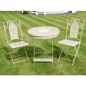 White Checked Table and Two Chairs Bistro Set