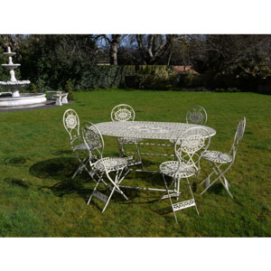 Cream Oval Table and Six Chairs Bistro Set