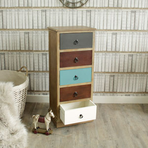 Natural Drift Wood 5 Drawer Unit