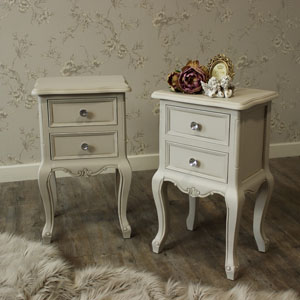 Elise Grey Range - Bedroom Set, Pair of Grey Two Drawer Bedside Tables
