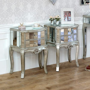Tiffany Range - Bedroom Set, Pair of Mirrored 2 Drawer Bedside Tables