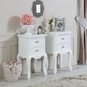 Elise White Range - Bedroom Set, Pair of White Two Drawer Bedside Tables