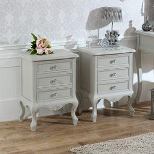 Elise Grey Range - Bedroom Set, Pair of 3 Drawer Bedside Table