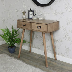 Brown Wooden Retro Style 2 Drawer Wooden Console Table - Brixham Range