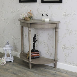 Wooden Half Moon Console Table - Hornsea Range