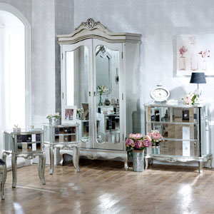 Tiffany Range - Bedroom Set, Mirrored Double Wardrobe, Chest of Drawers and Pair of Bedside Chests
