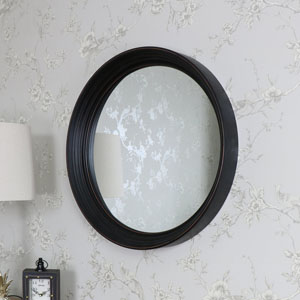 Large Round Black Wall Mounted Mirror 61cm x 61cm