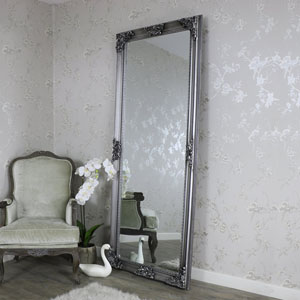 Huge Ornate Antique Silver Full Length Wall/Floor Mirror 85cm x 210cm