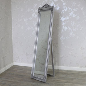 Antique Silver Full Length Freestanding Cheval Mirror 44cm x 180cm