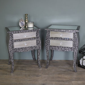 Pair of Silver Embossed Mirrored Bedside Lamp Tables - Monique Range