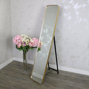 Tall Gold Framed Full Length Freestanding Cheval Mirror