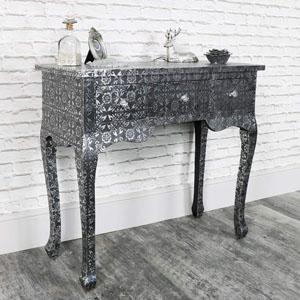 Silver Embossed 3 Drawer Dressing Table - Monique Range
