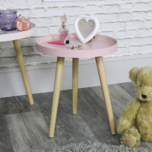Small Pink Round Side Table