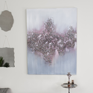 Large Pink & Silver Crystal Abstract Wall Print Canvas
