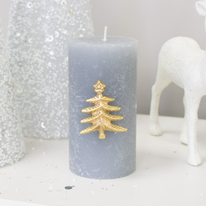 Gold Christmas Tree Candle Pin