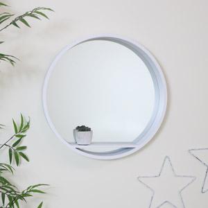 Large Round White Mirrored Wall Shelf Unit